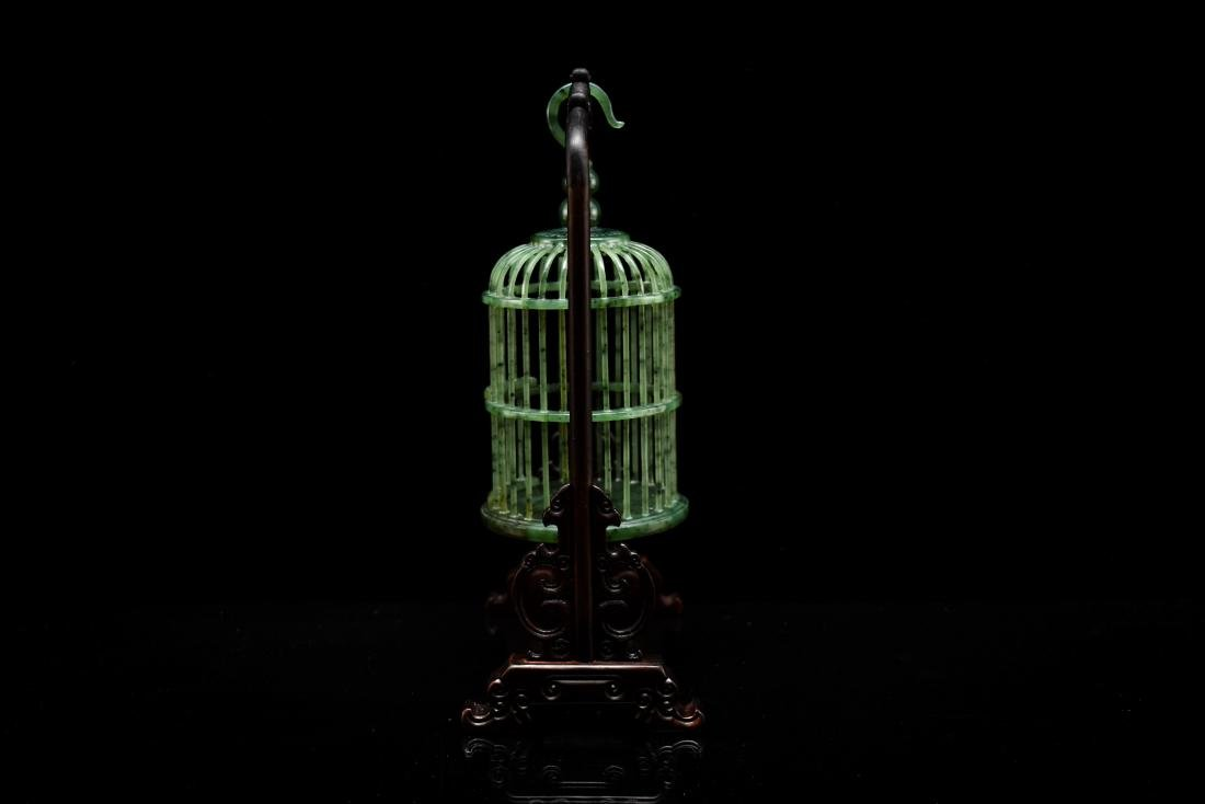 CHINESE HANGING GREEN JADE CRICKET CAGE - 3