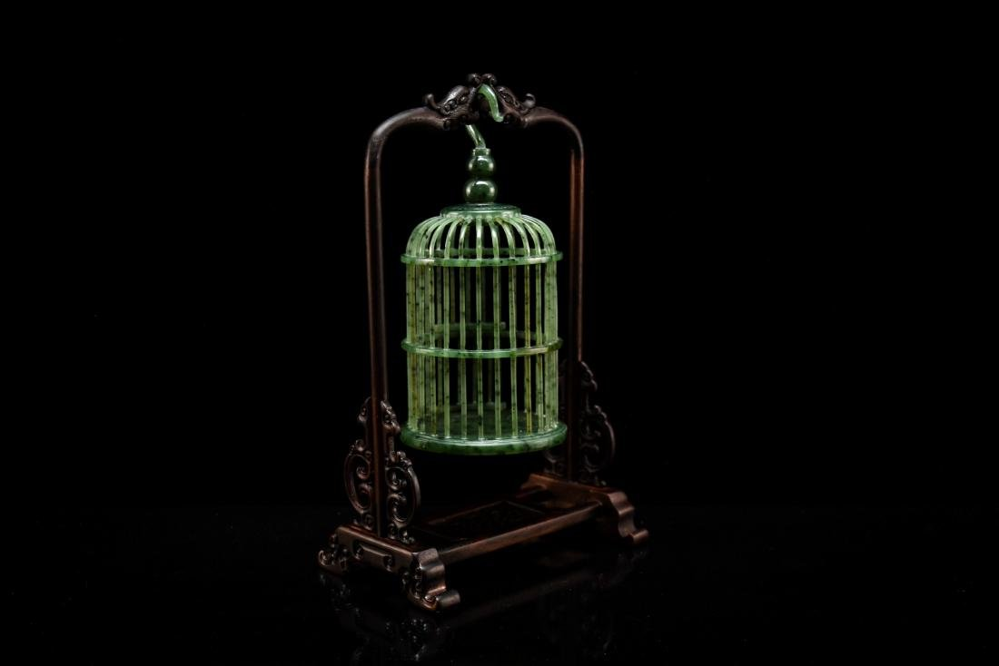 CHINESE HANGING GREEN JADE CRICKET CAGE - 4
