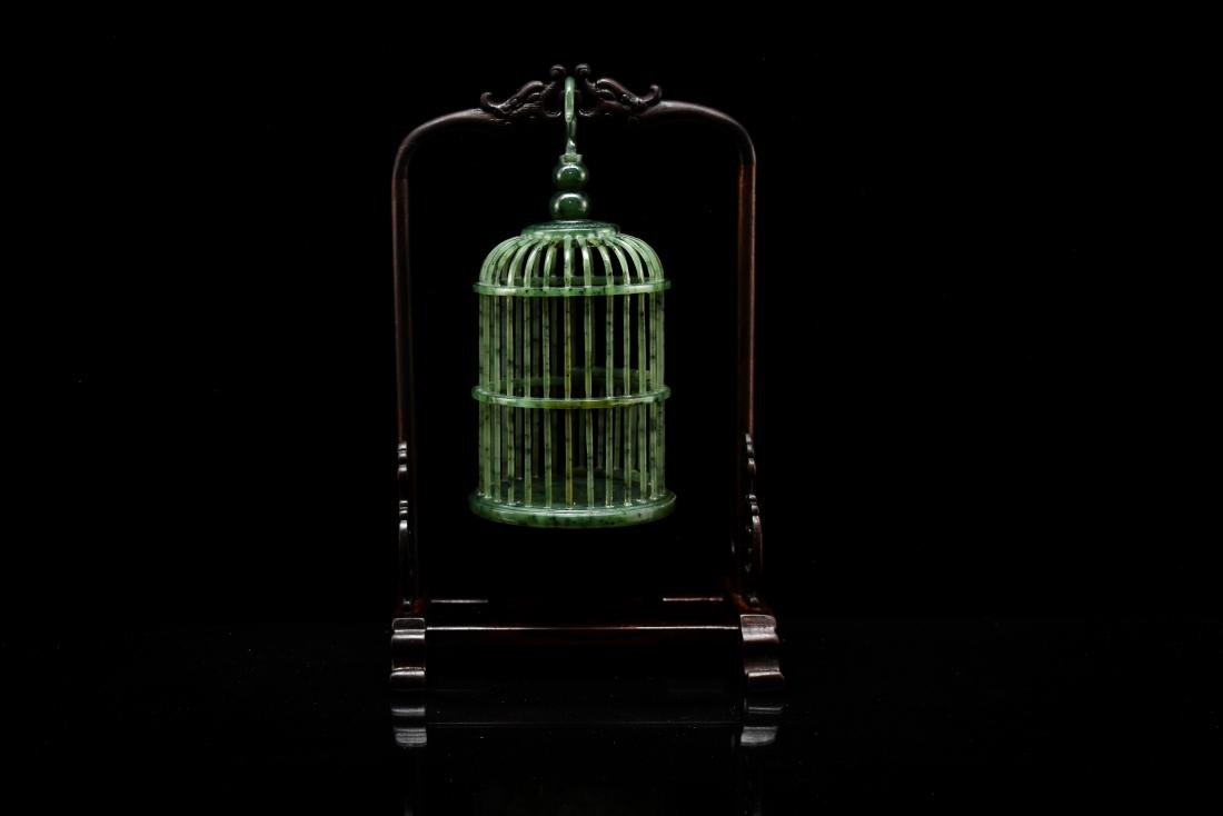 CHINESE HANGING GREEN JADE CRICKET CAGE - 5