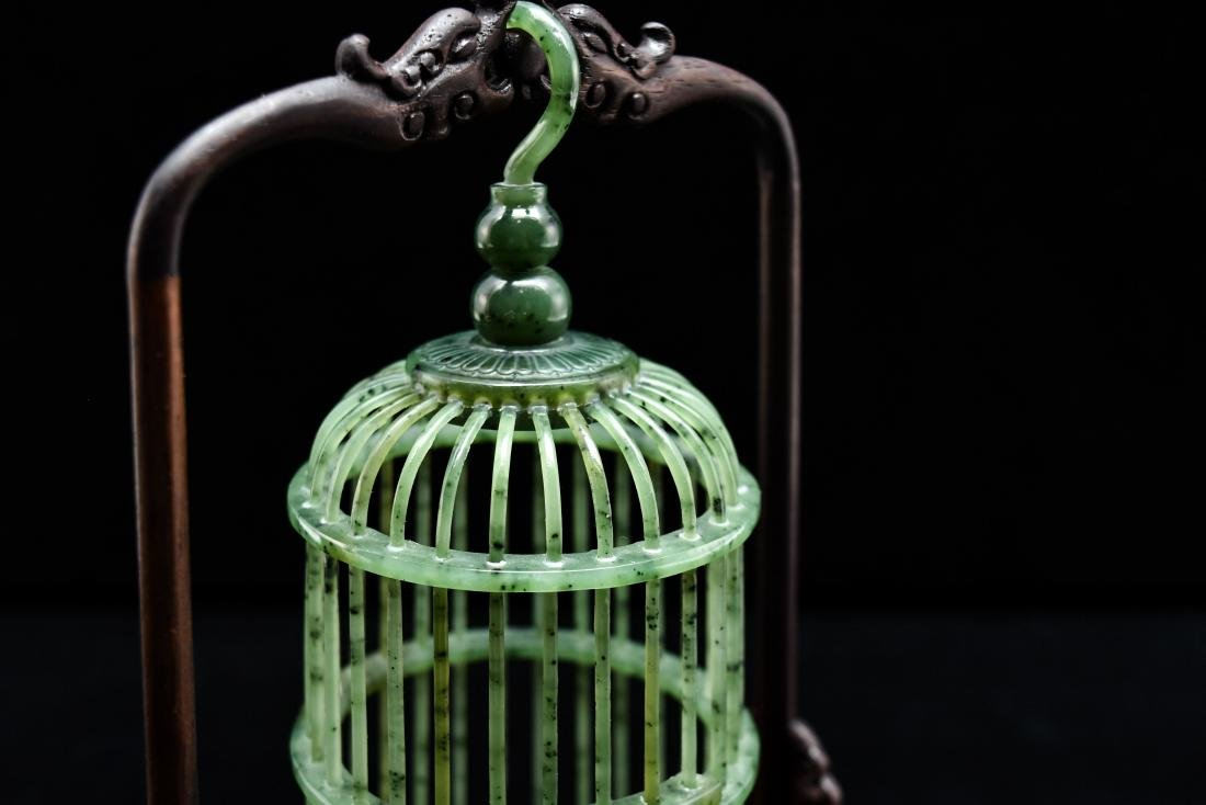 CHINESE HANGING GREEN JADE CRICKET CAGE - 6