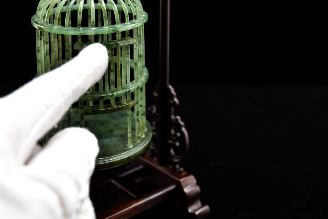 CHINESE HANGING GREEN JADE CRICKET CAGE - 7