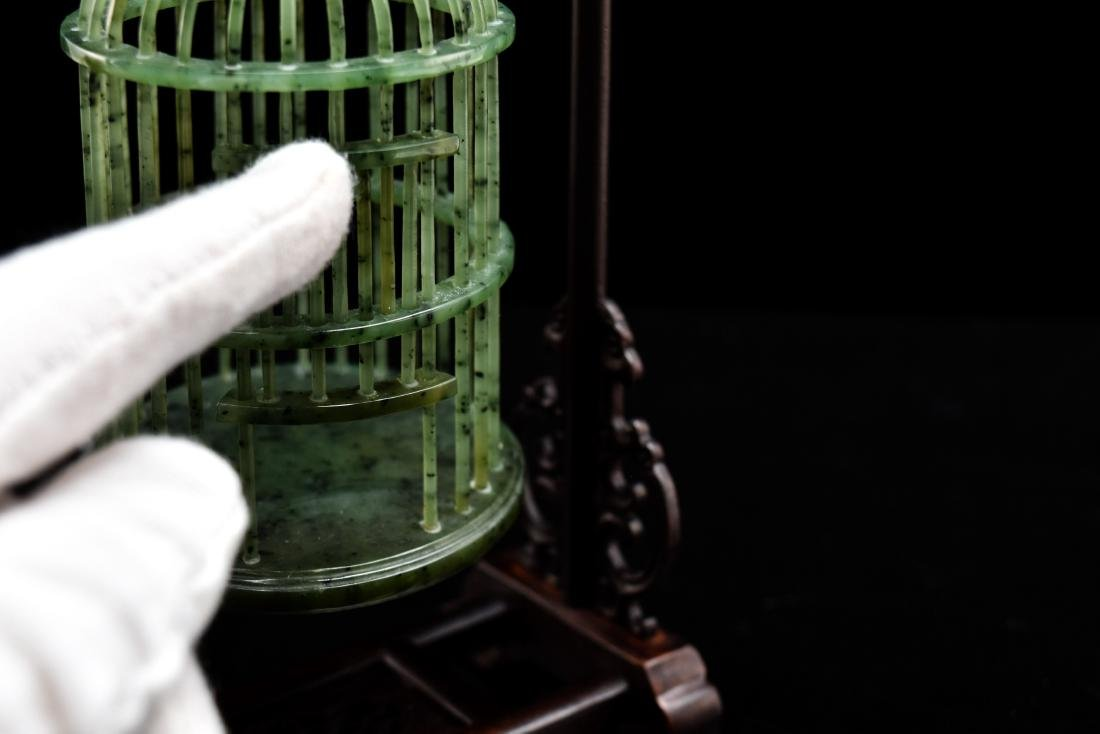 CHINESE HANGING GREEN JADE CRICKET CAGE - 8