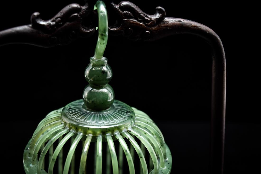 CHINESE HANGING GREEN JADE CRICKET CAGE - 9
