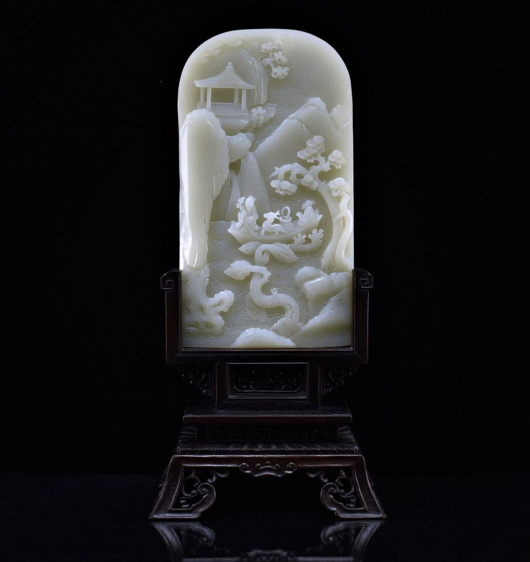 CHINESE LANDSCAPE JADE TABLE SCREEN