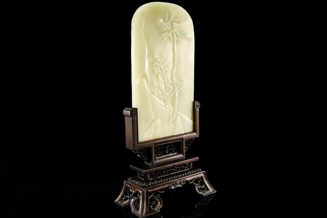 CHINESE LANDSCAPE JADE TABLE SCREEN - 4