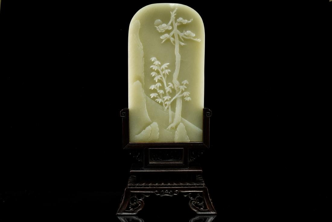 CHINESE LANDSCAPE JADE TABLE SCREEN - 5