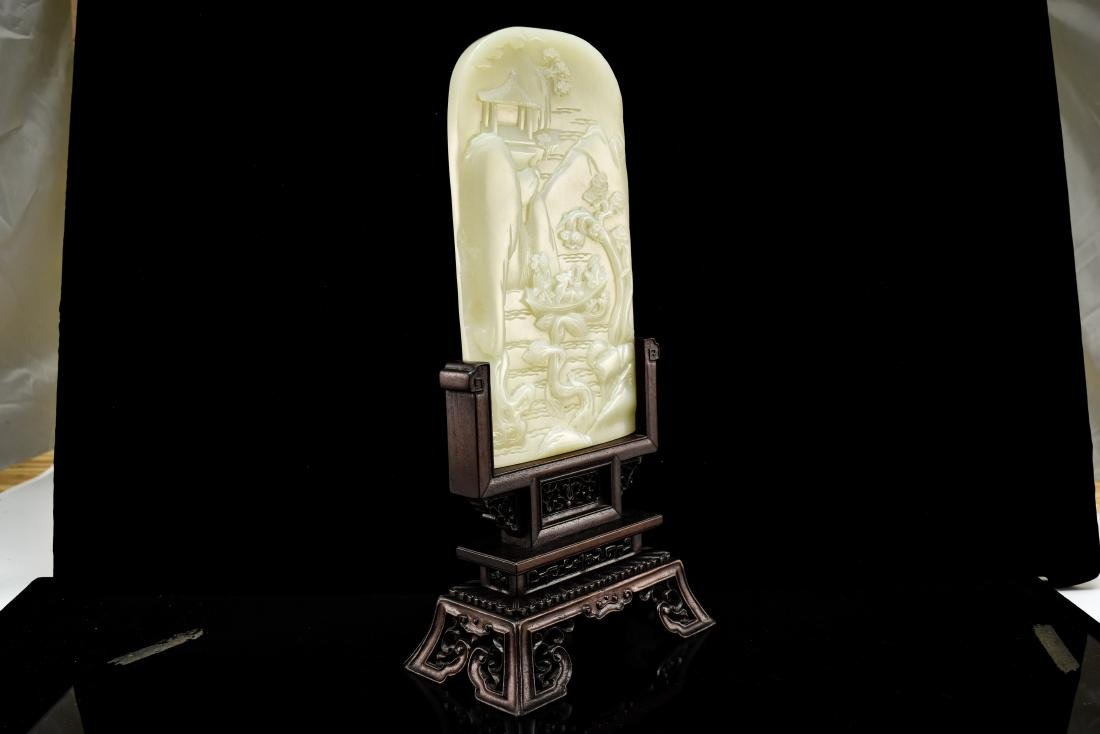 CHINESE LANDSCAPE JADE TABLE SCREEN - 6