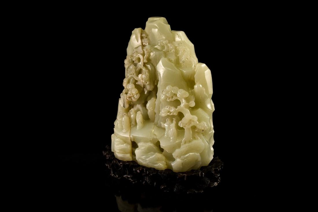 FINE CARVED CHINESE JADE MOUNTAIN LANDSCAPE - 2