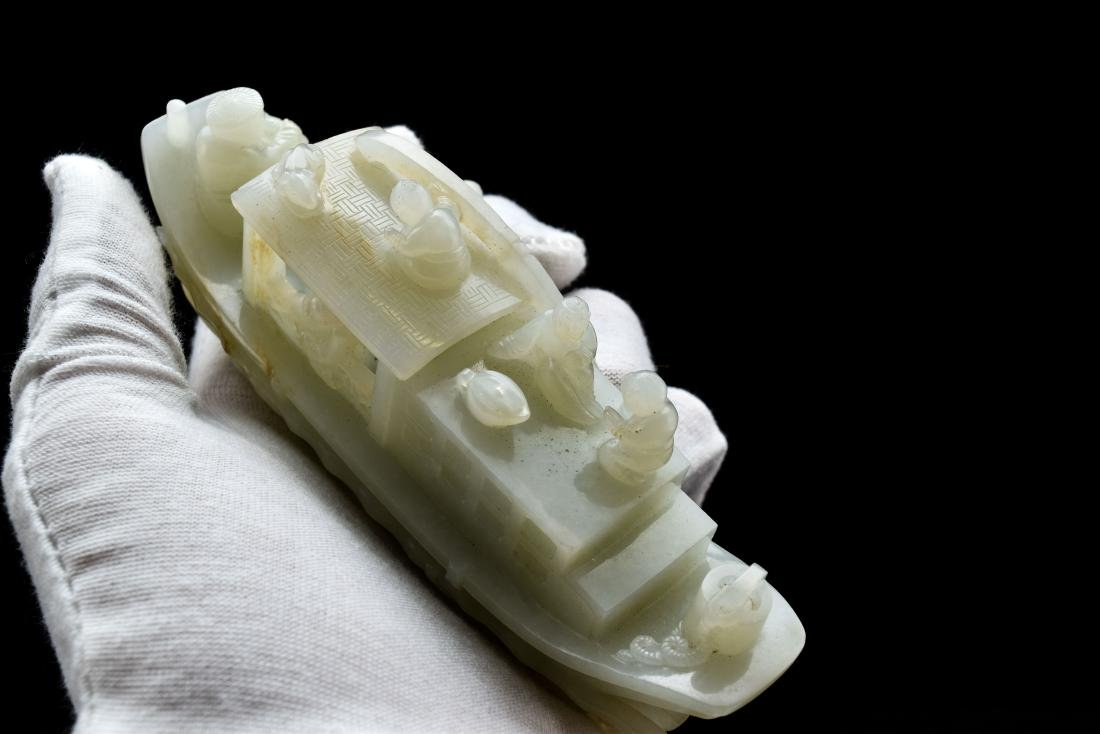 A CARVED CHINESE JADE MODEL OF FIGURES ON BOAT - 10