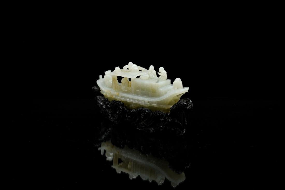 A CARVED CHINESE JADE MODEL OF FIGURES ON BOAT - 4