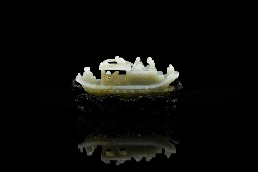 A CARVED CHINESE JADE MODEL OF FIGURES ON BOAT - 6