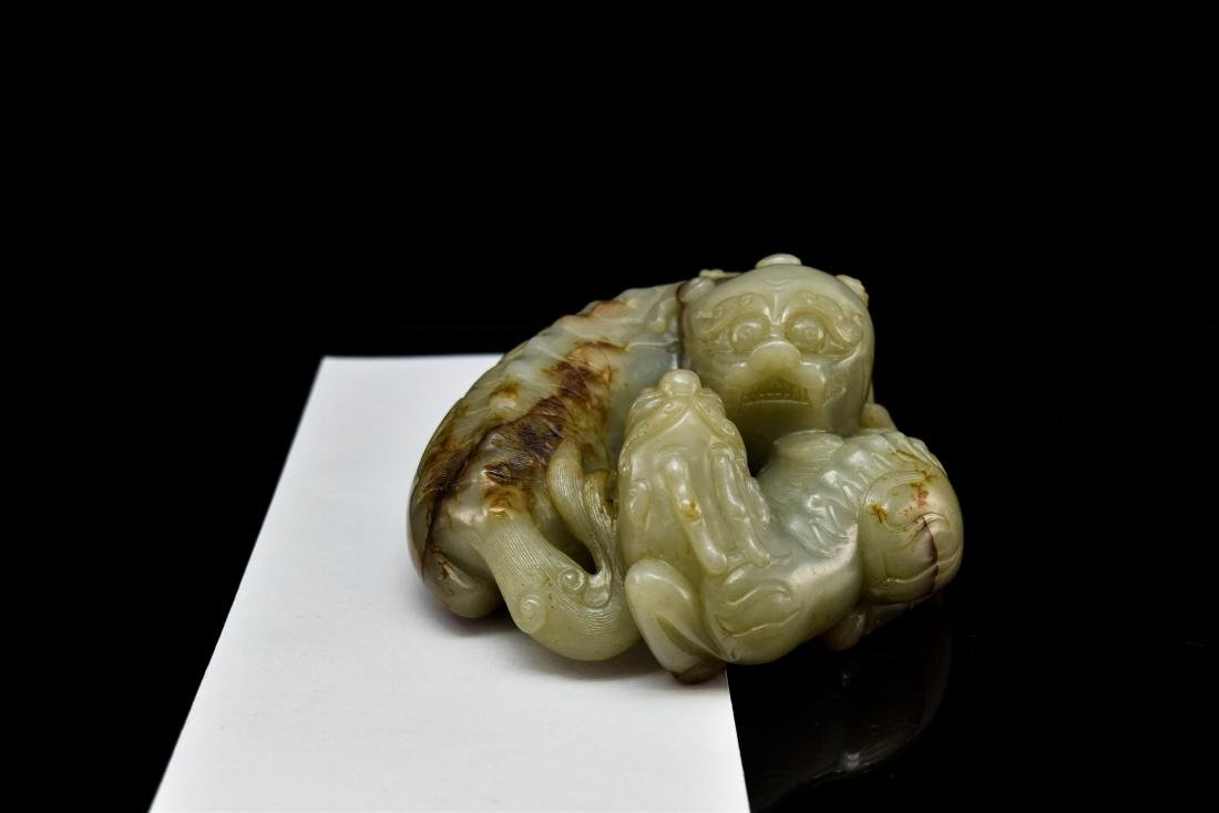 LARGE CHINESE JADE OF QILINS ON STAND - 14