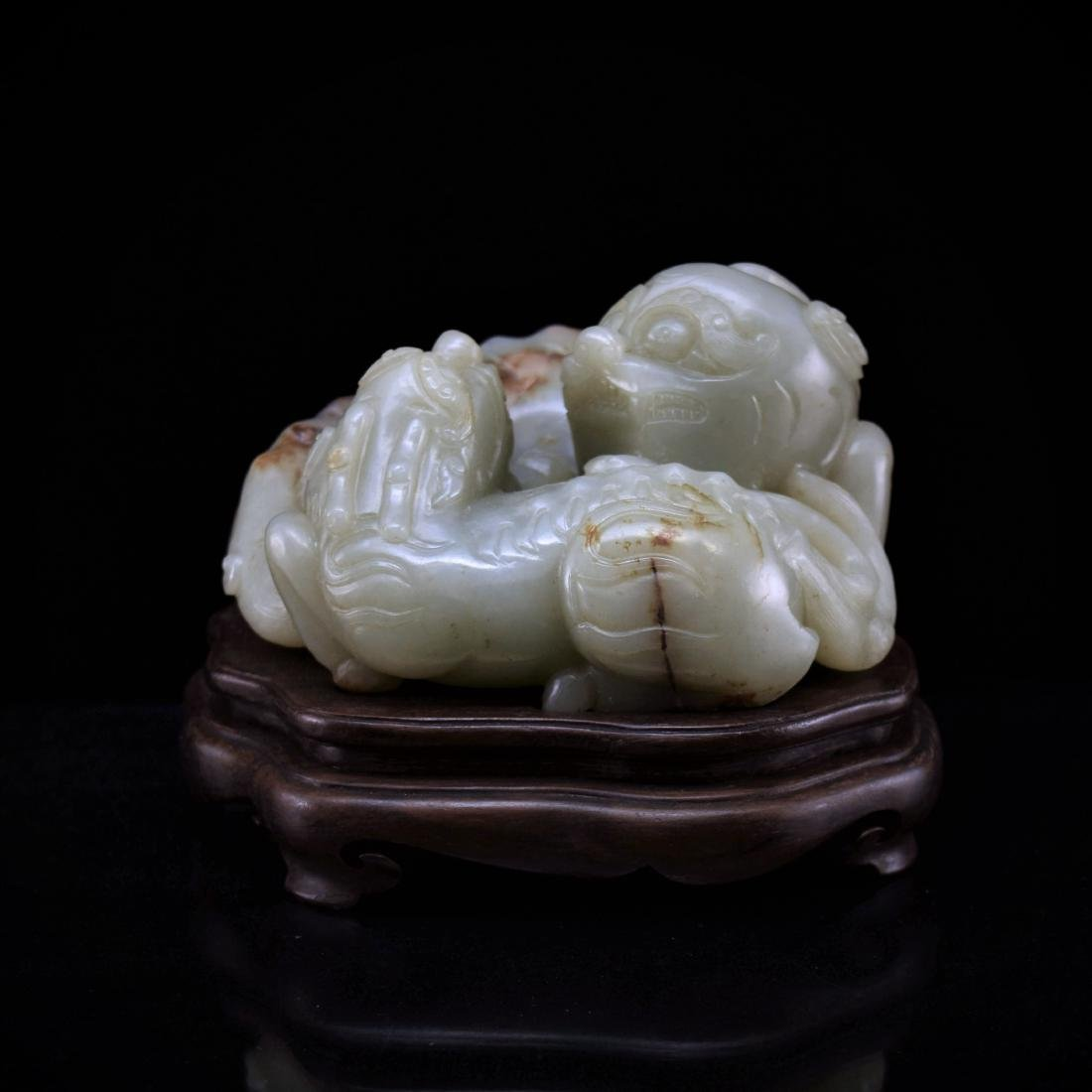 LARGE CHINESE JADE OF QILINS ON STAND