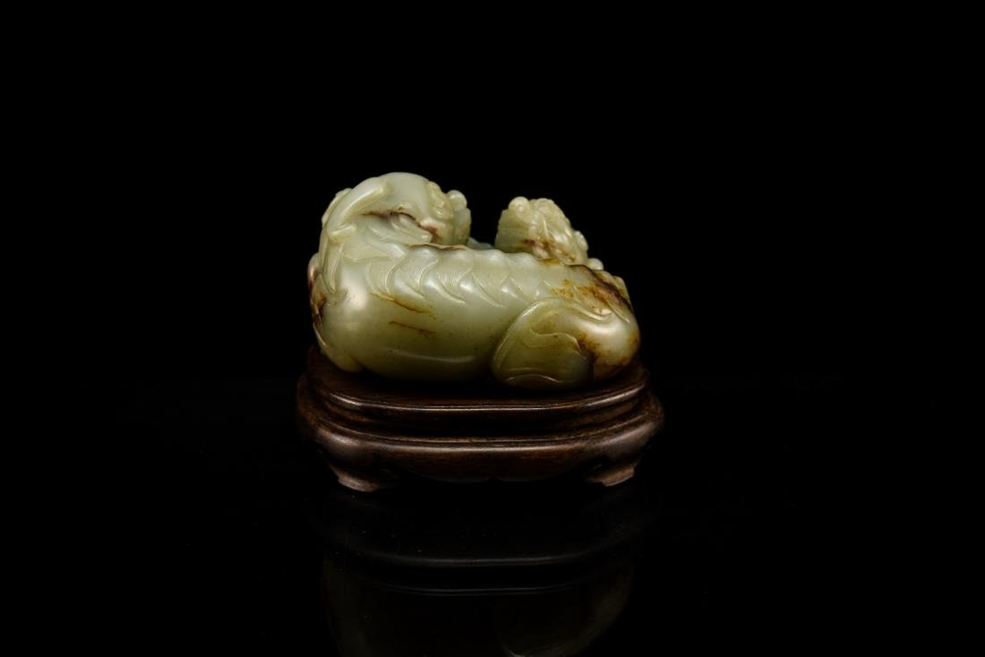 LARGE CHINESE JADE OF QILINS ON STAND - 4