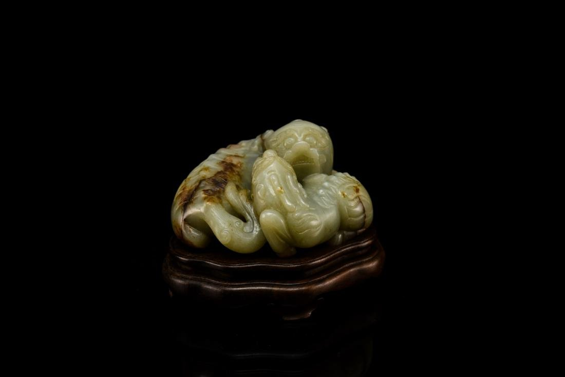 LARGE CHINESE JADE OF QILINS ON STAND - 6