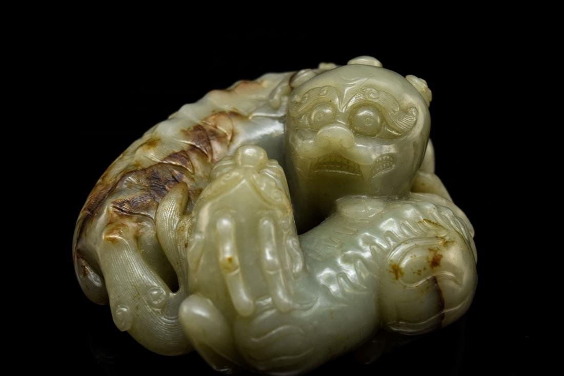 LARGE CHINESE JADE OF QILINS ON STAND - 8