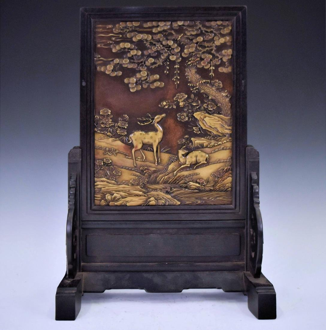 CHINESE STONE CARVING TABLE SCREEN OF DEER IN LANDSCAPE