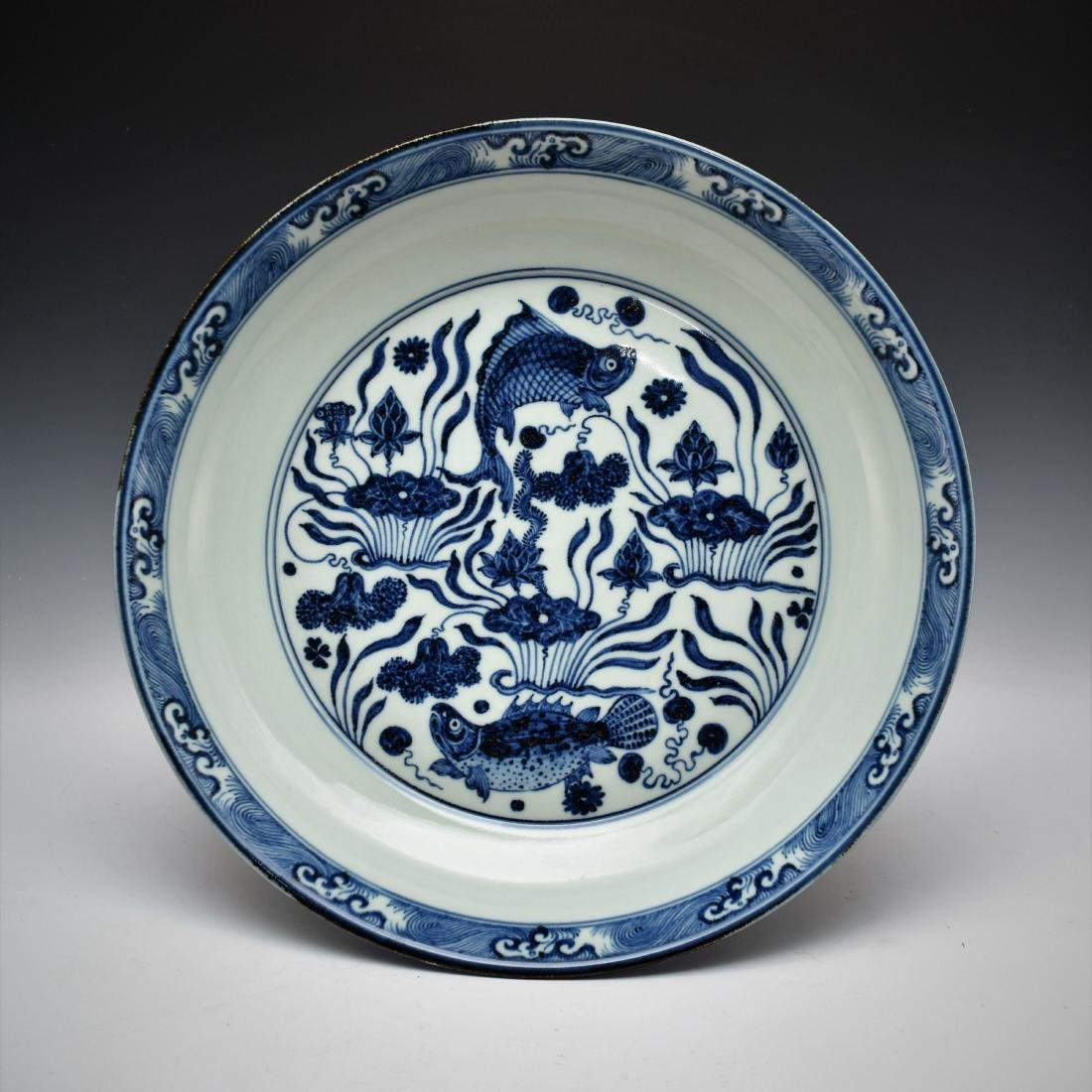 MING BLUE & WHITE FISH PORCELAIN CHARGER