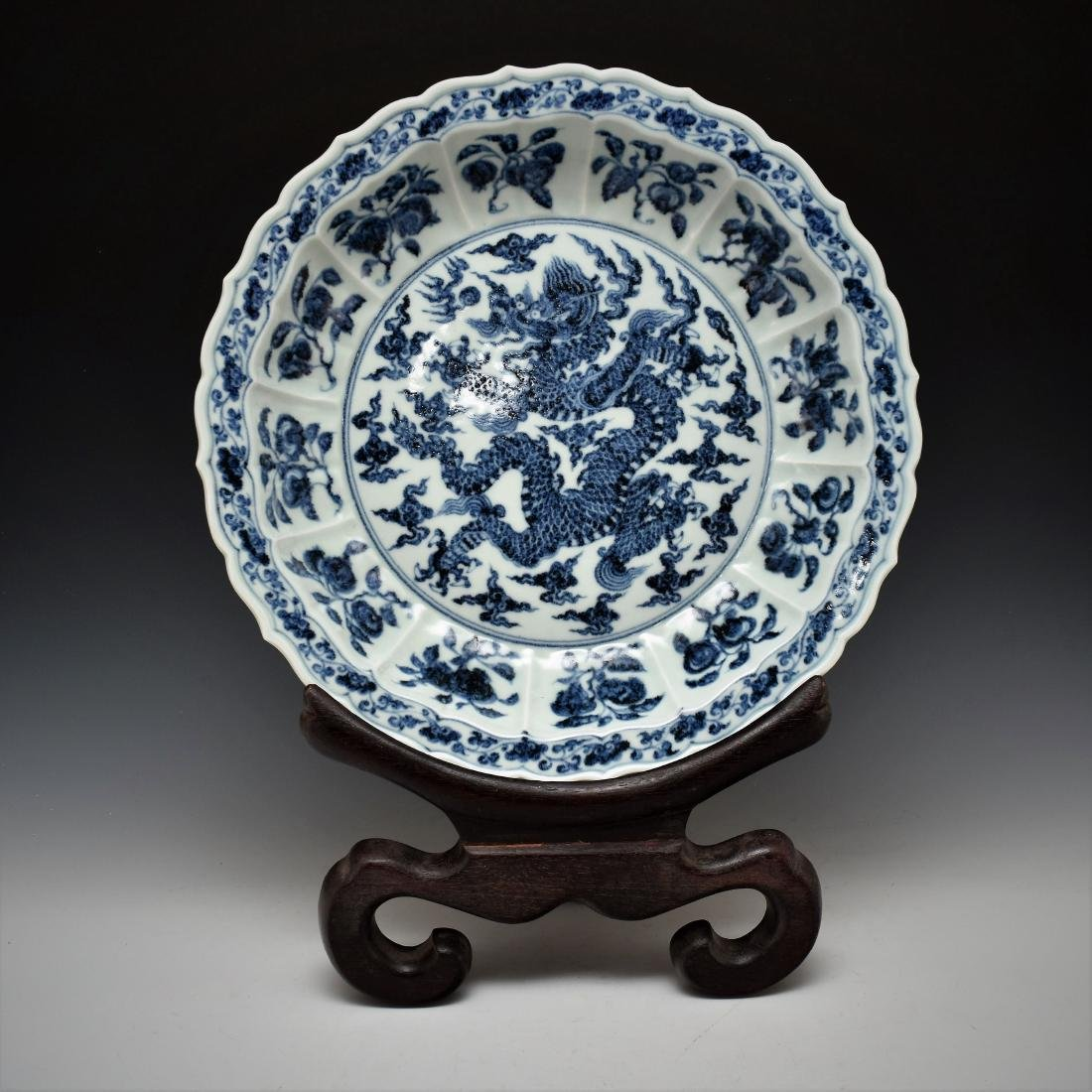 MING BLUE & WHITE DRAGON FLORI PETAL RIM PLATE ON STAND