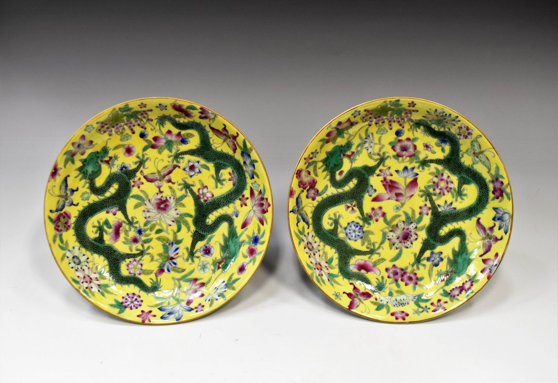 PAIR OF DRAGON ON YELLOW GROUND PLATE