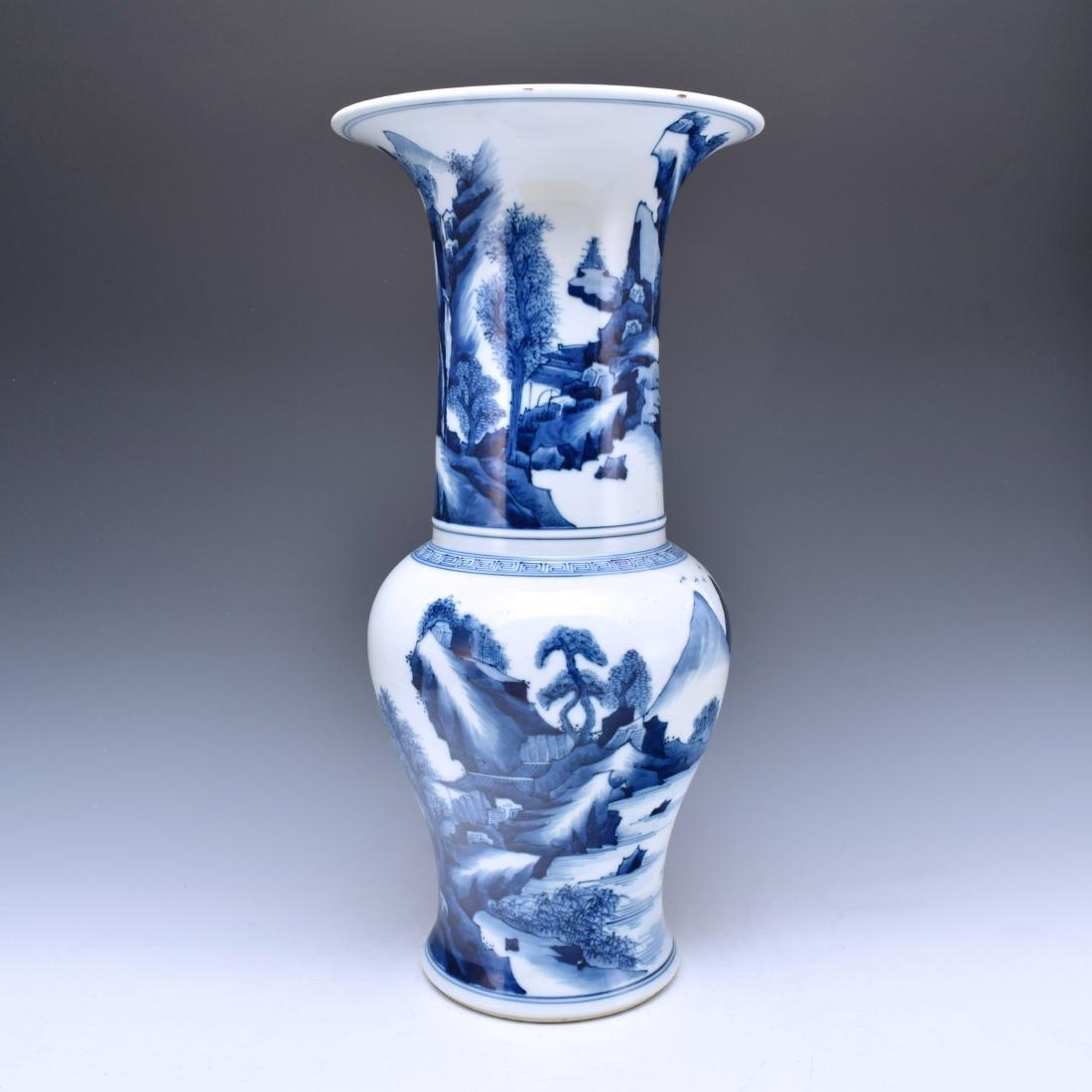 BLUE AND WHITE PANORAMIC YEN YEN VASE
