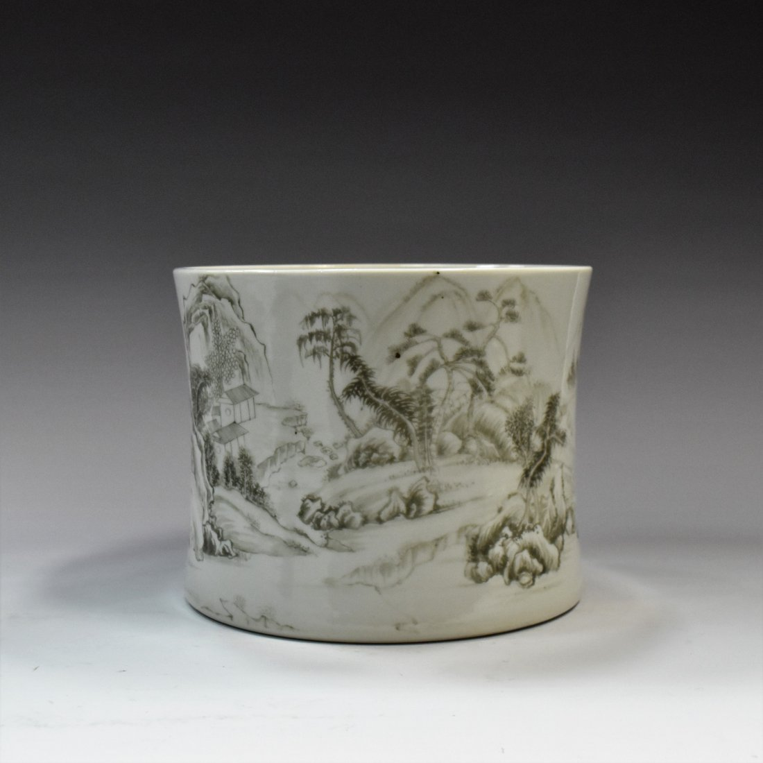 19TH C CHINESE BLACK PAINT BRUSH POT (MO CAI)