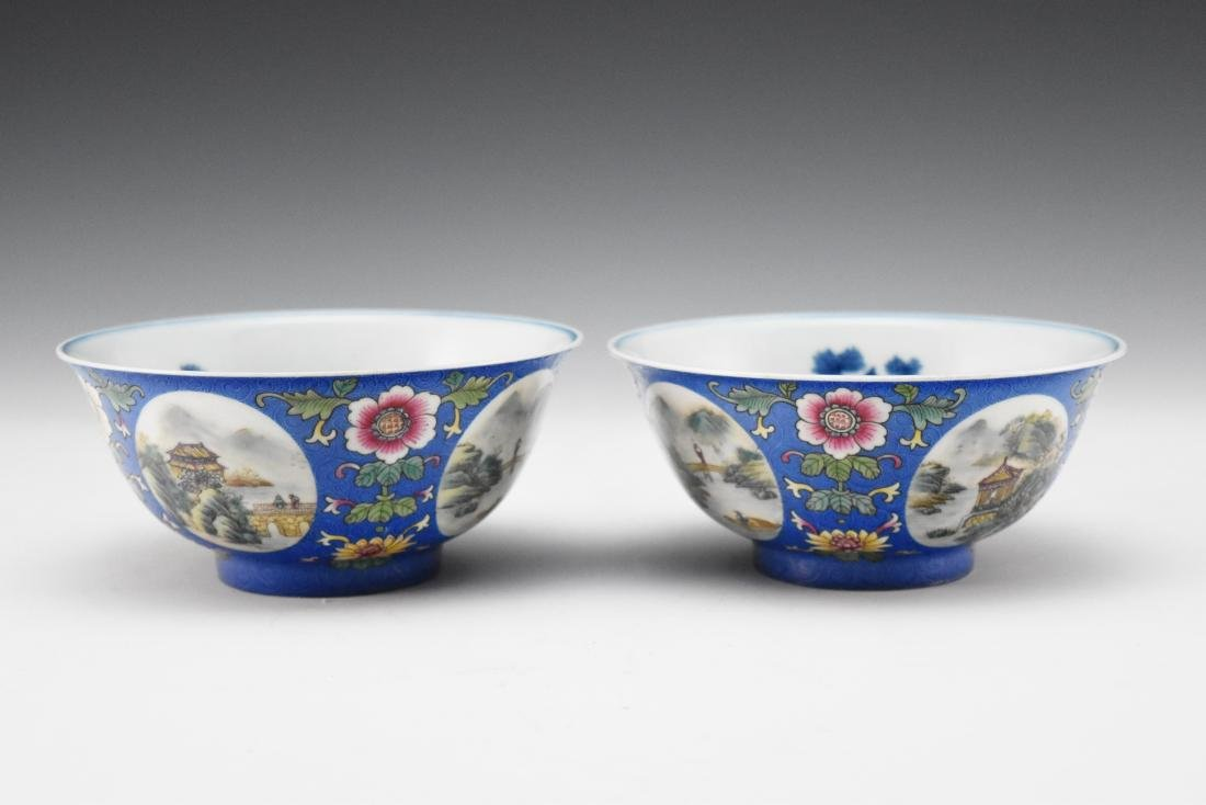 PAIR OF OPEN FACE MEDALLION SGRAFITTO GROUND BOWLS
