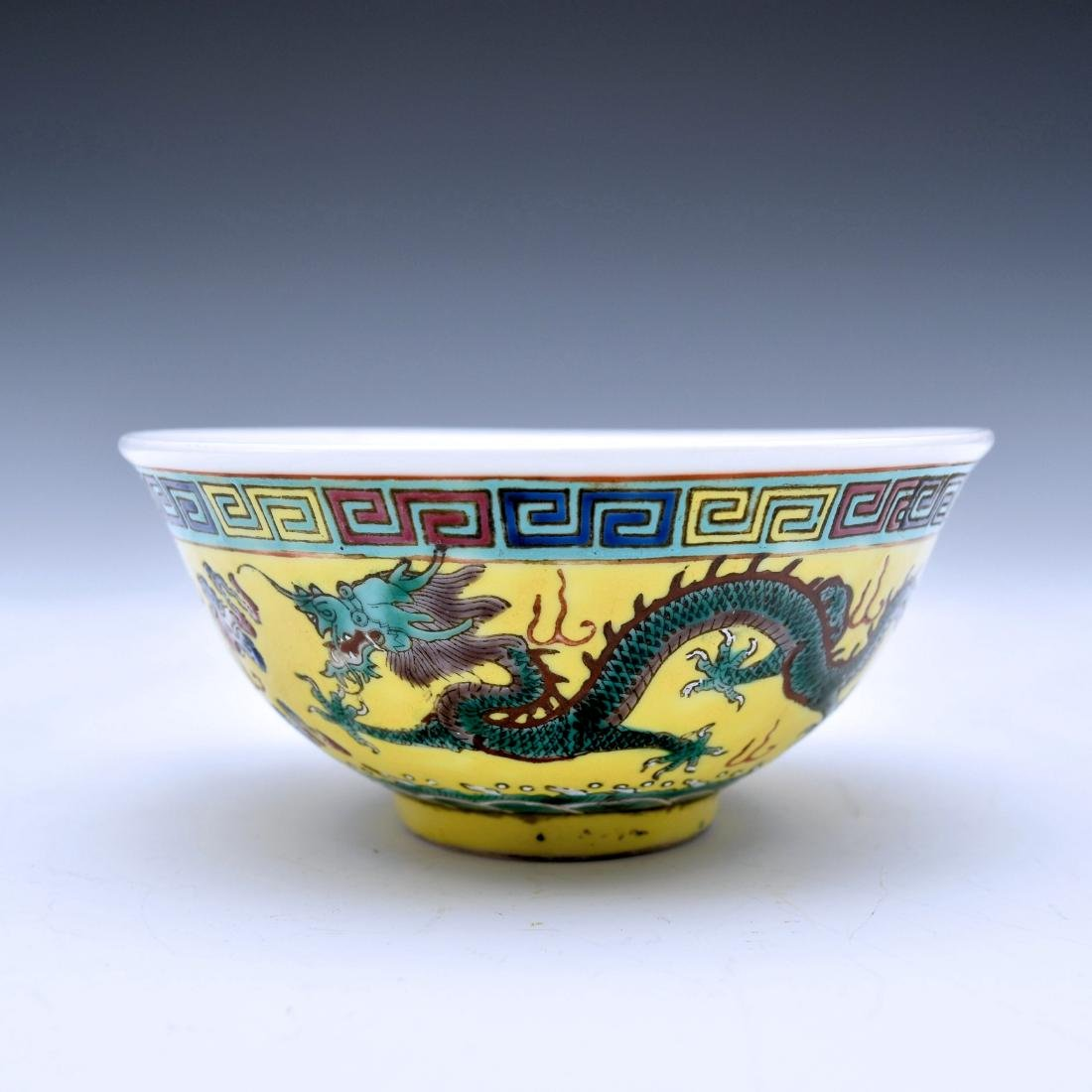 CHINESE GREEN DRAGON ON YELLOW BOWL