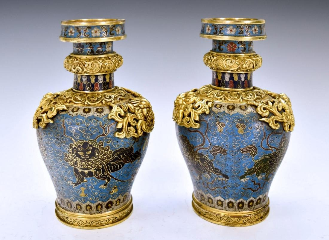 PAIR OF GILT BRONZE DRAGON AND CLOISONNE VASES
