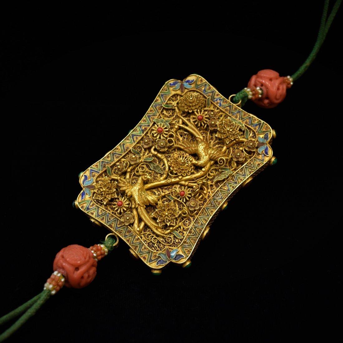 SOLID GOLD & ENAMEL INLAID PHOENIX AMULET