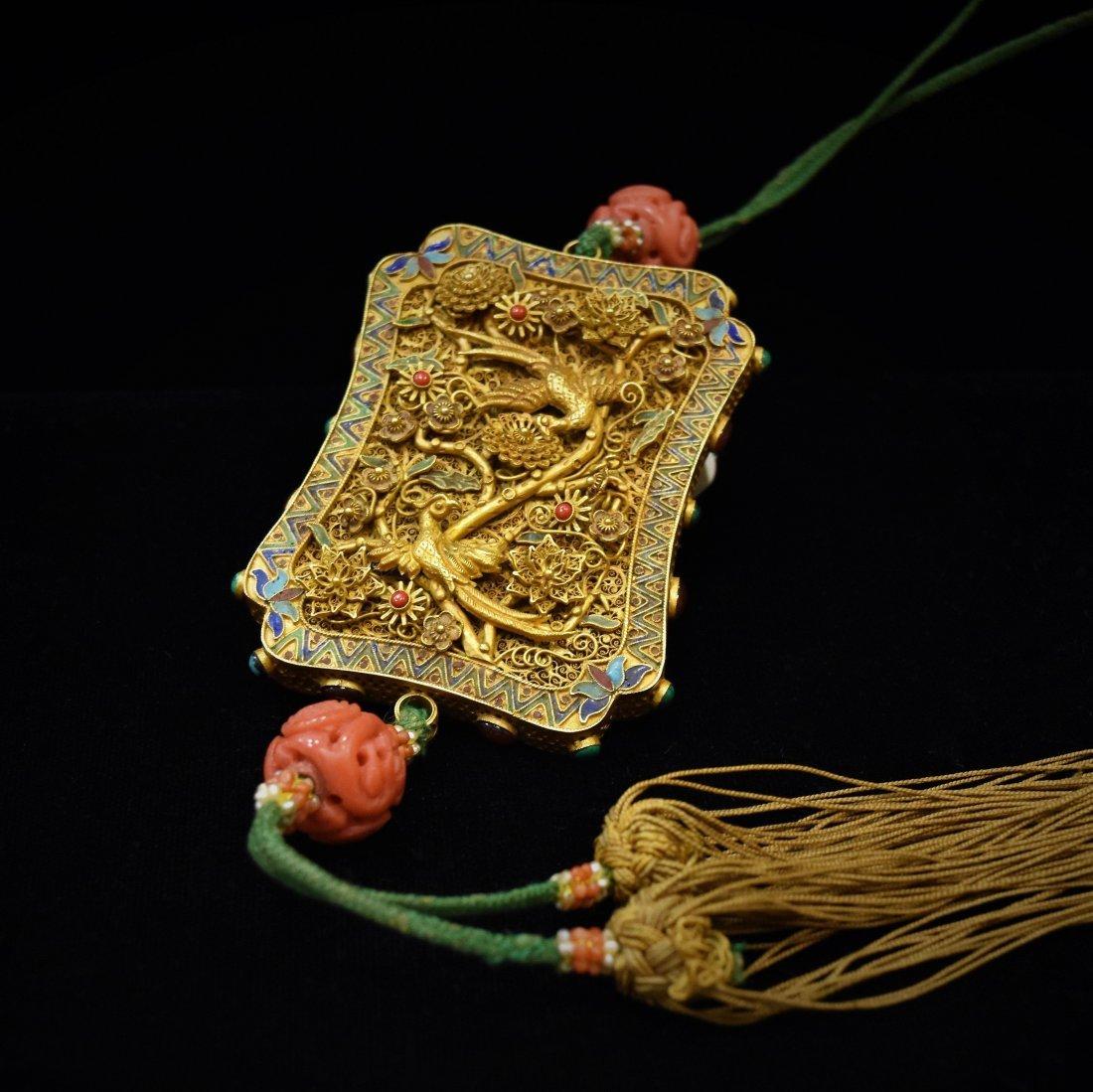 SOLID GOLD & ENAMEL INLAID PHOENIX AMULET - 2