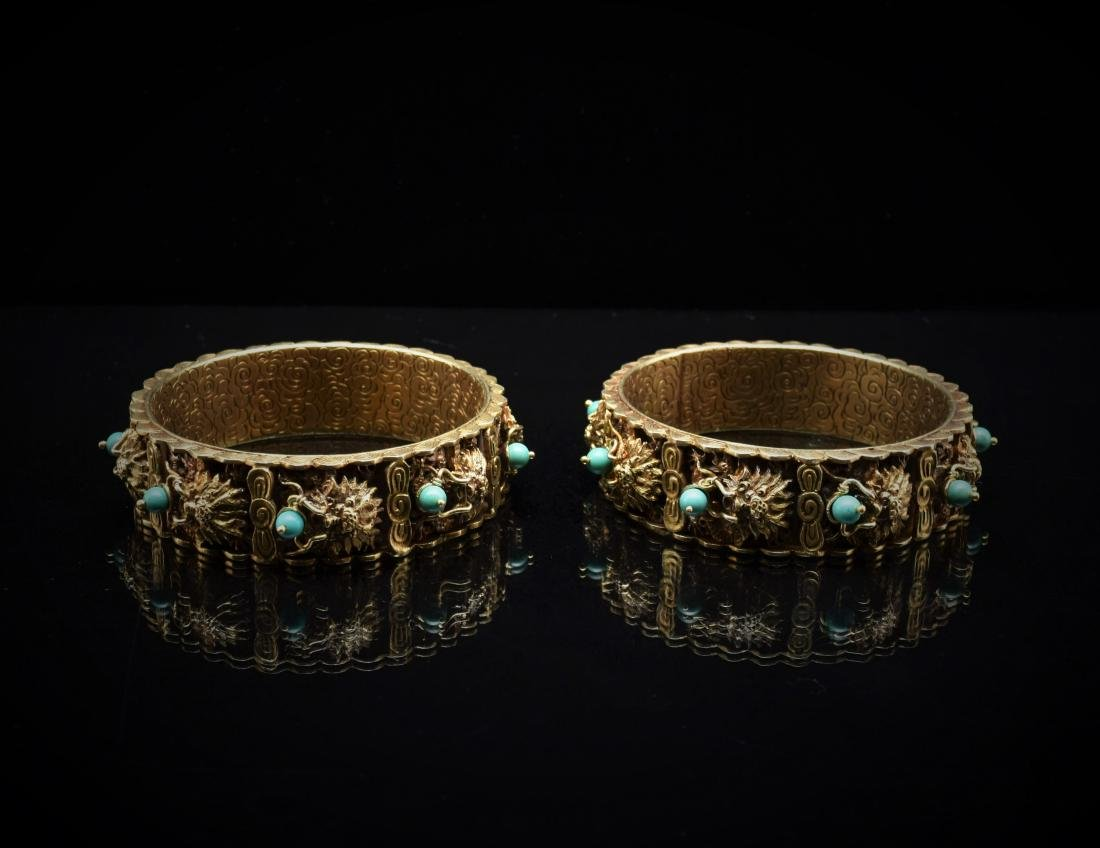 PAIR OF CHINESE FILLEGRE INLAID BANGLES