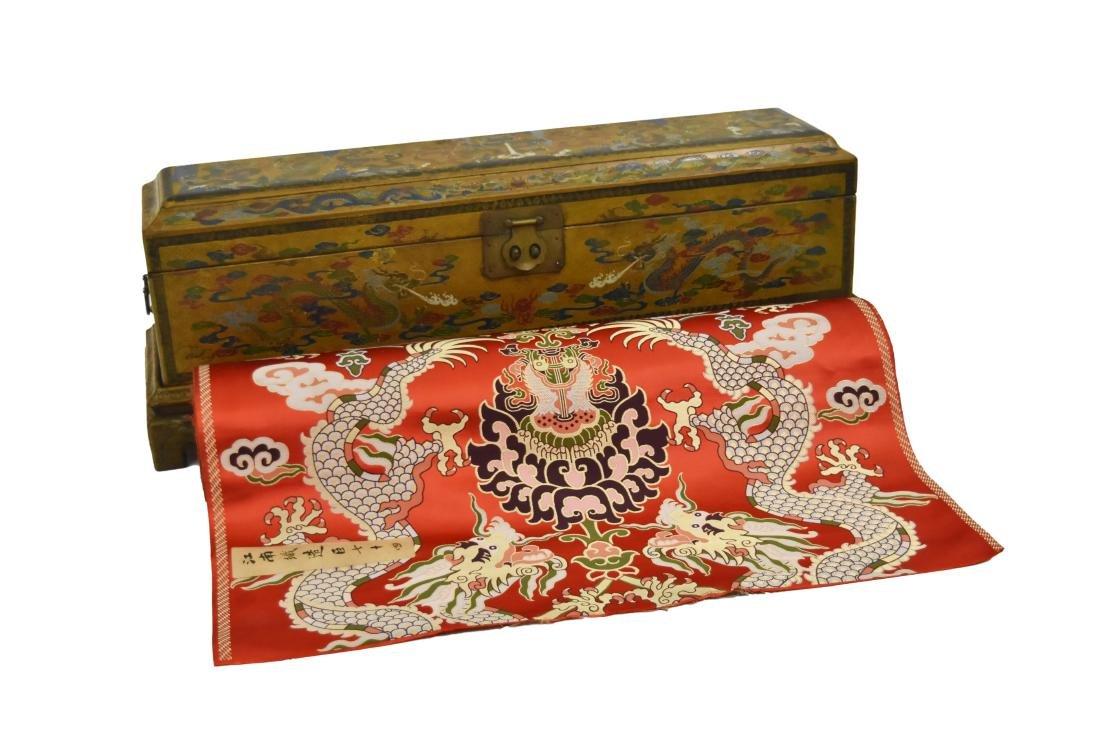 19TH C. CHINESE DRAGON SILK ROLL IN BOX