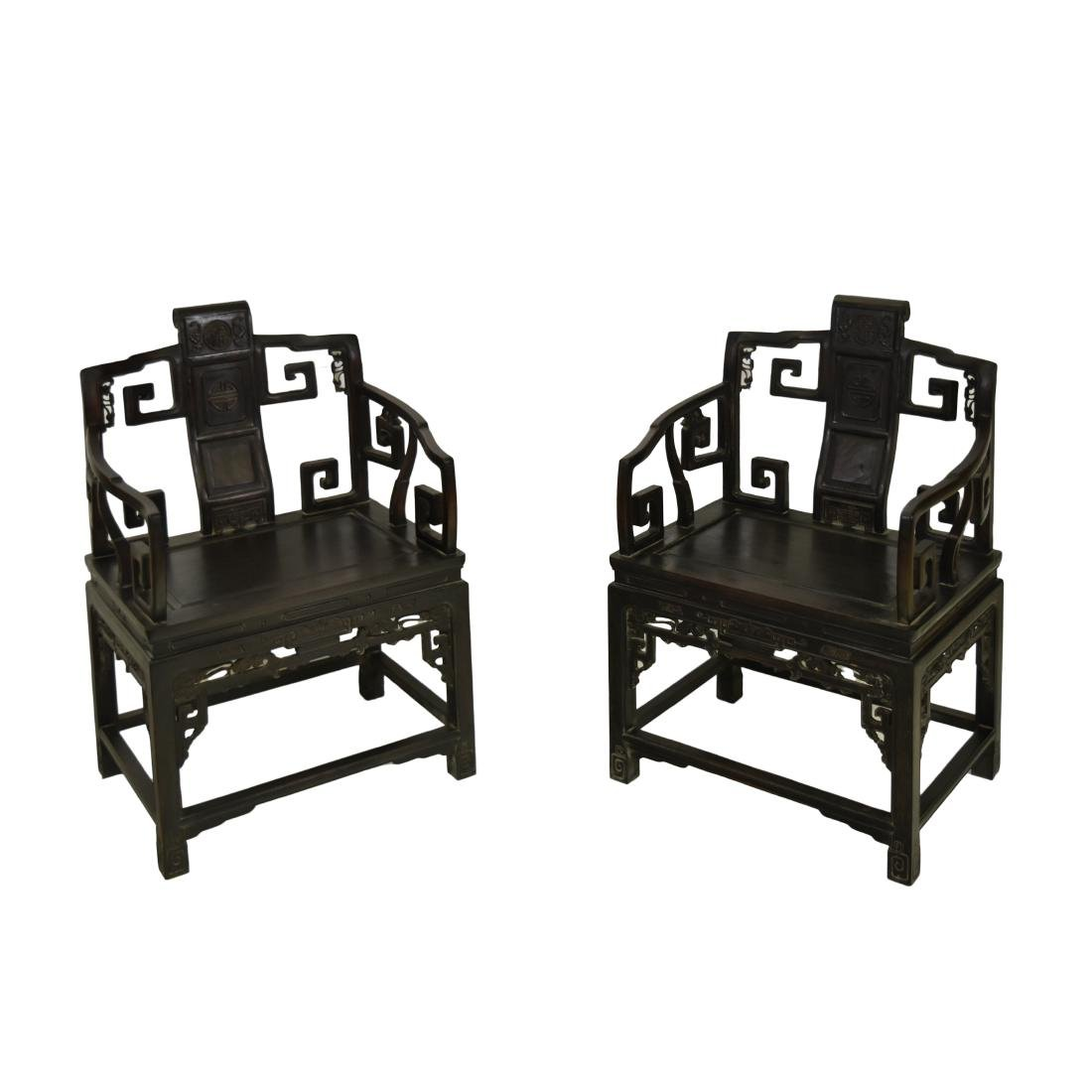 PAIR OF ZITAN LATTICE PANEL MASTER CHAIRS