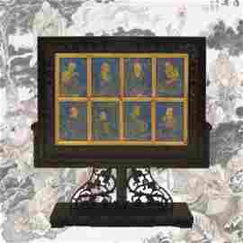 RARE SET OF 8 LAPIS LAZULI PLAQUES GILT 16 LUOHAN TABLE