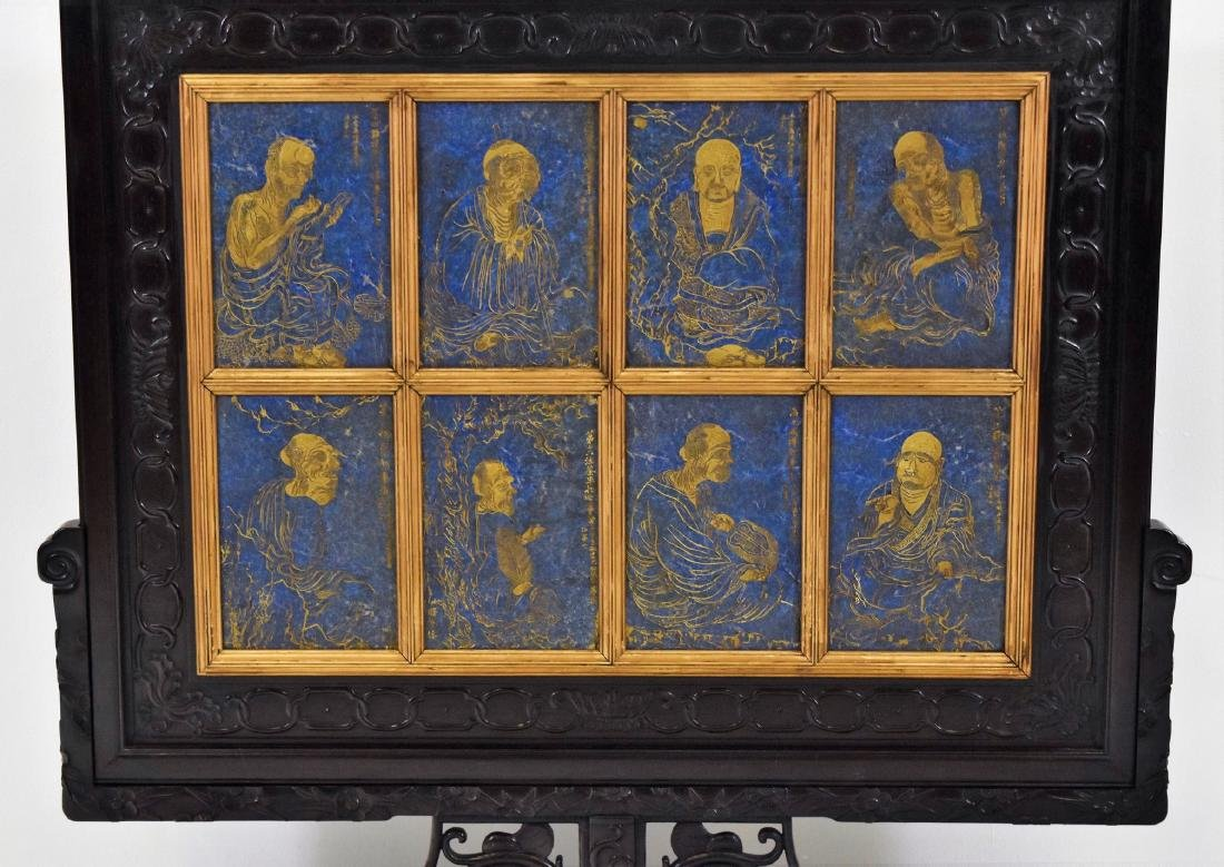 RARE SET OF 8 LAPIS LAZULI PLAQUES GILT 16 LUOHAN TABLE - 2