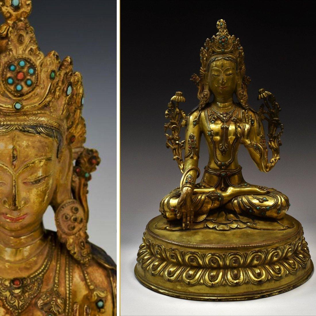 LARGE QING DYNASTY GILT BRONZE INLAID BUDDHA FIGURE