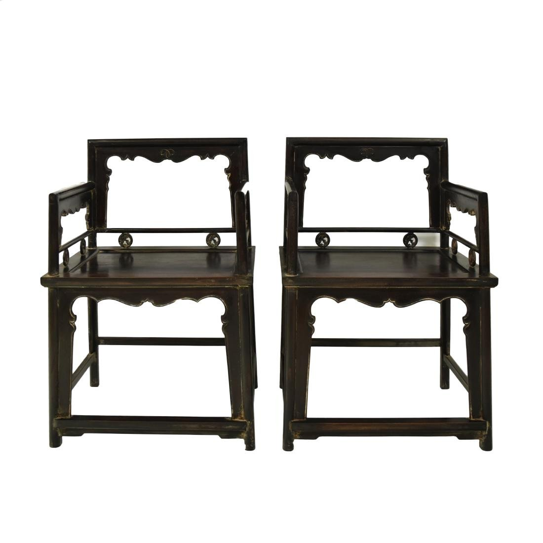PAIR OF CARVED ZITAN ROSE CHAIRS, MEIGUI YI
