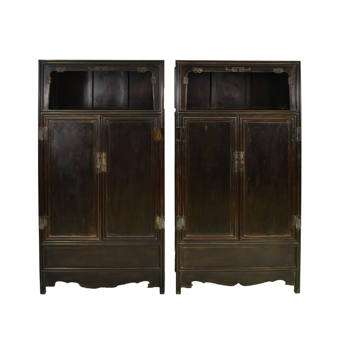 PAIR ANTIQUE CHINESE BRASS-MOUNTED ZITAN CABINETS