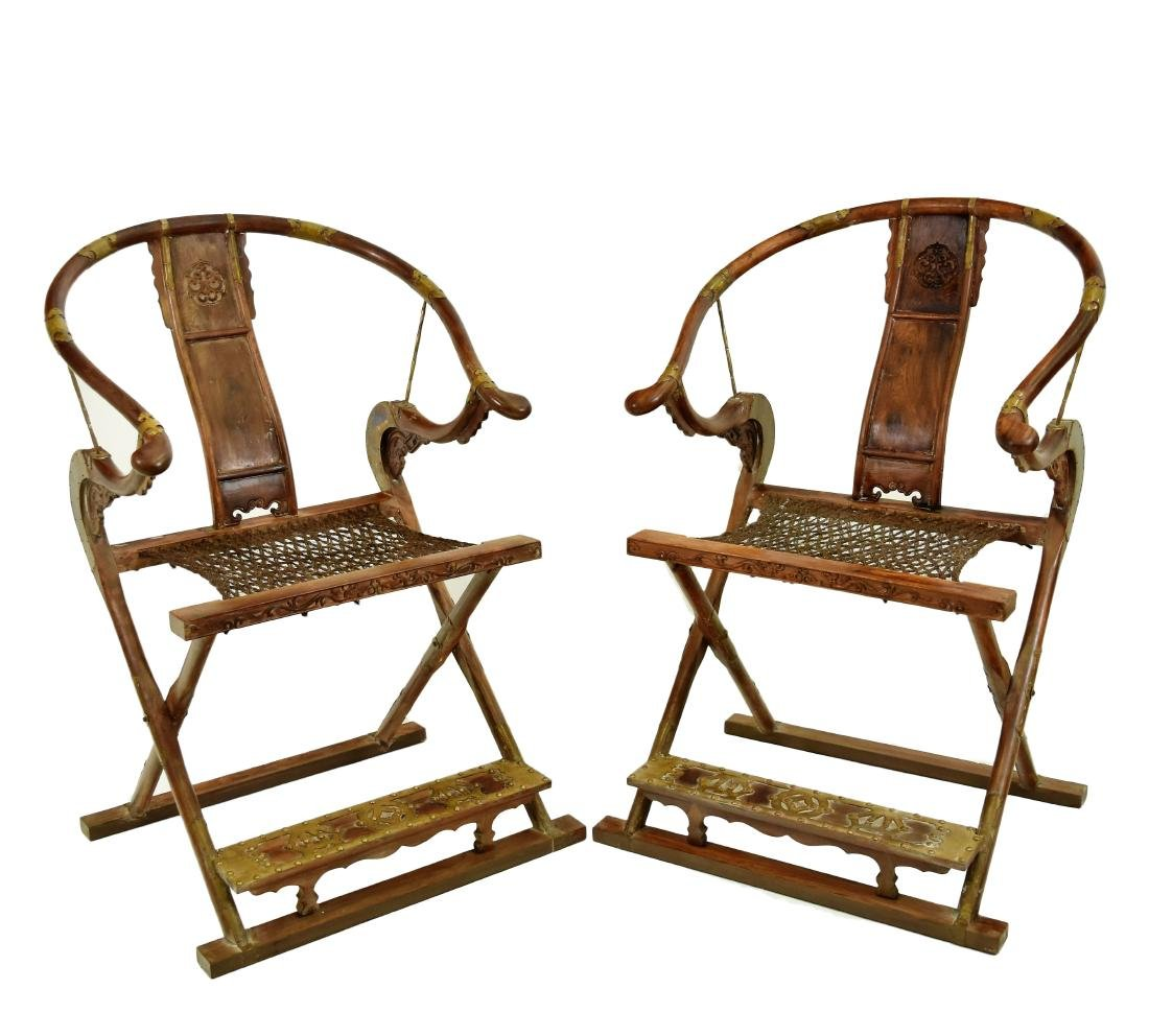 PAIR OF BRASS-MOUNTED HUANGHUALI FOLDING CHAIRS