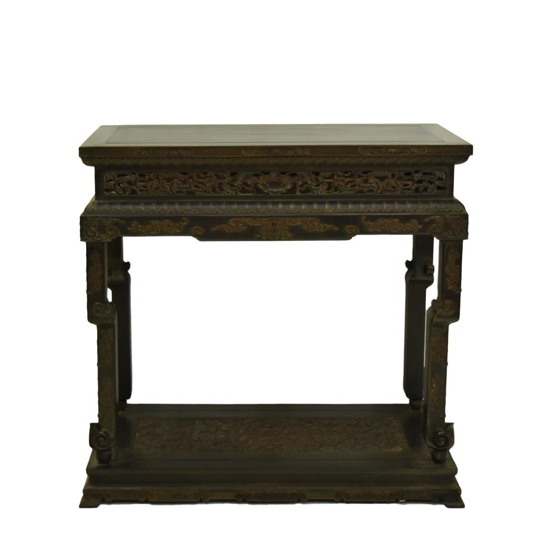 FINELY CARVED CHINESE ZITAN ANTIQUE STAND
