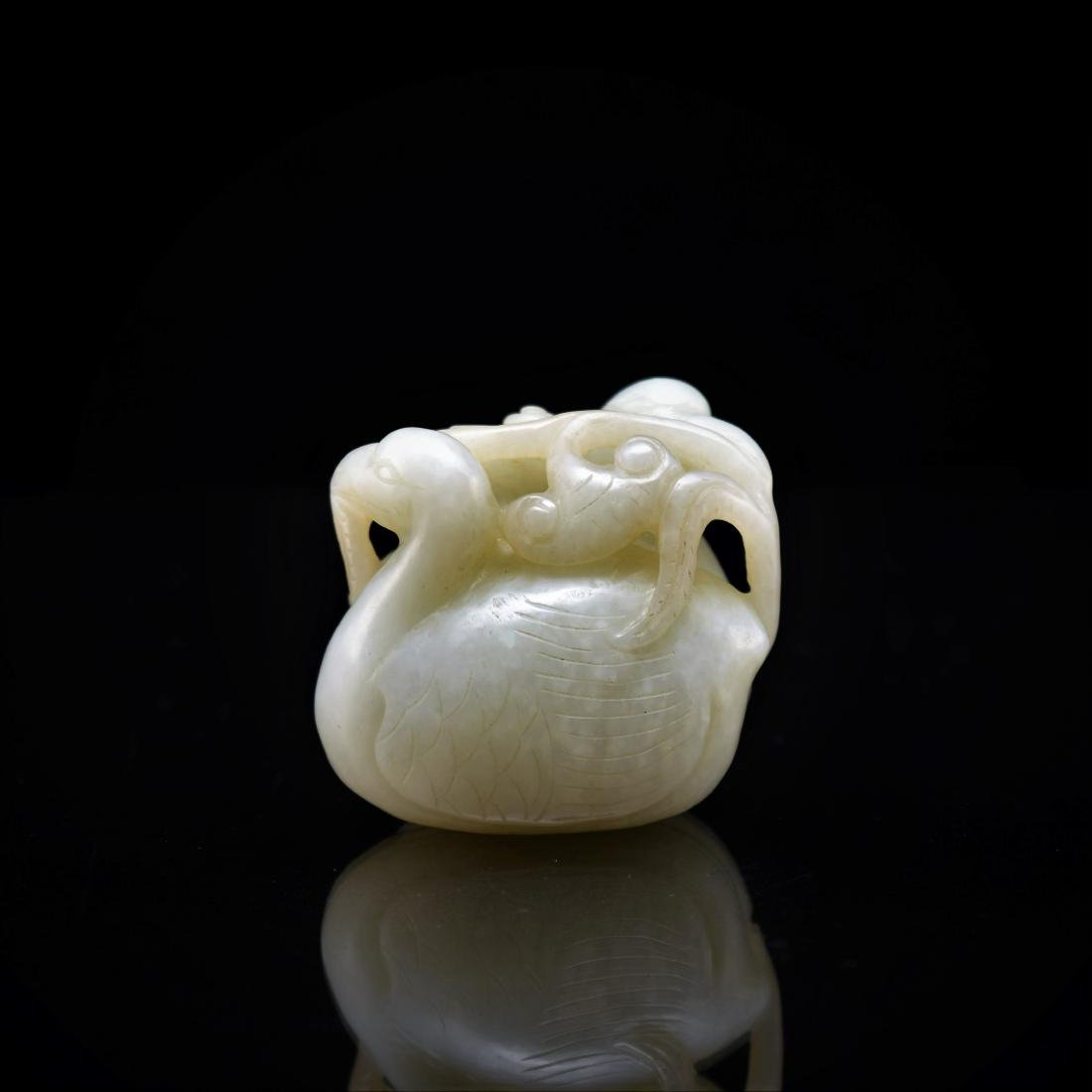 CARVED WHITE JADE OF TWO DUCKS