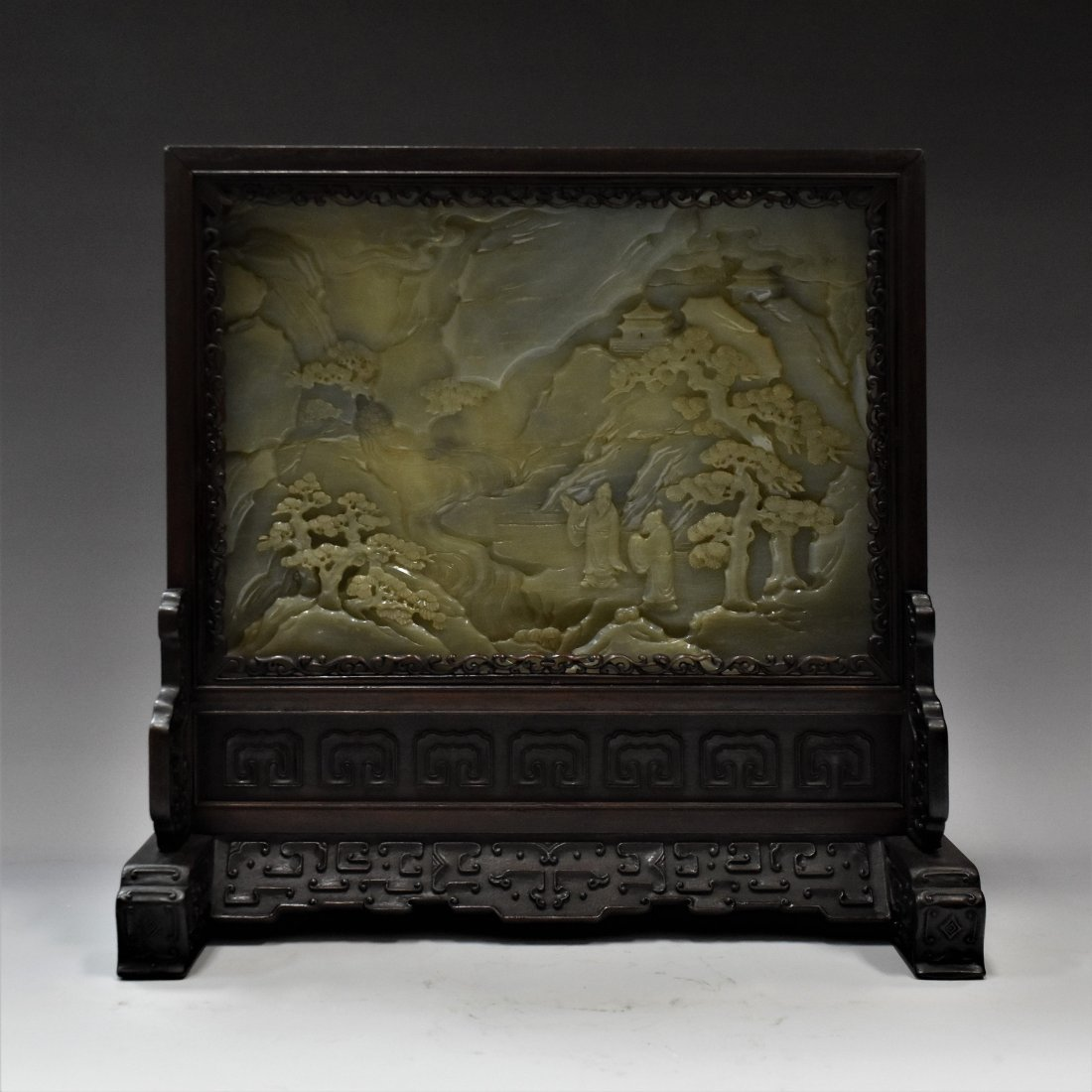 FRAMED CHINESE GRAYISH CELADON JADE TABLE SCREEN