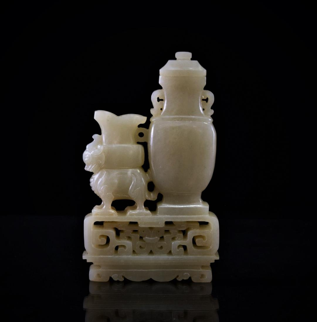 CARVED JADE OF DOUBLE VASE UPON QILIN