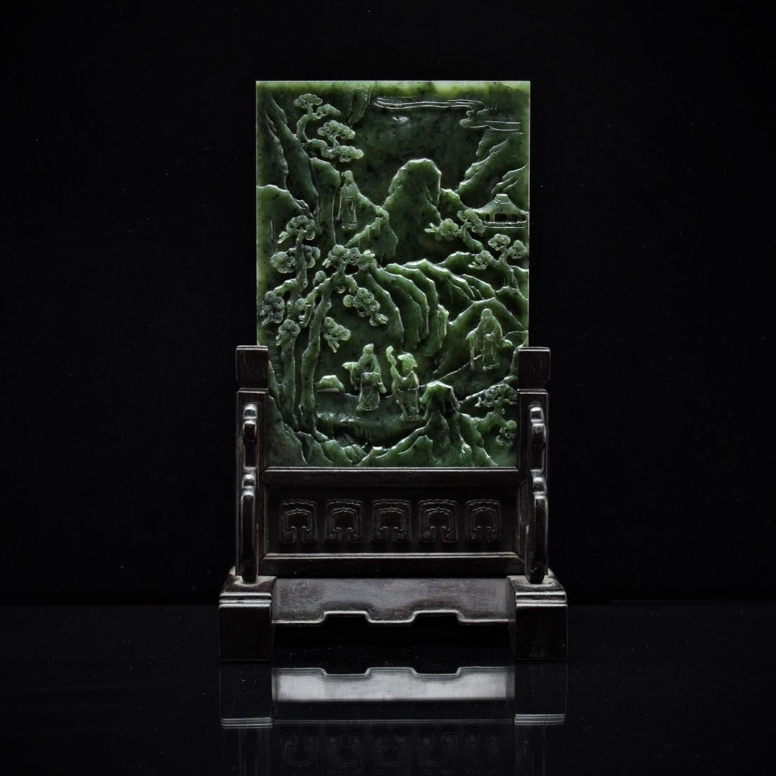 CARVED SPINACH GREEN JADE TABLE SCREEN