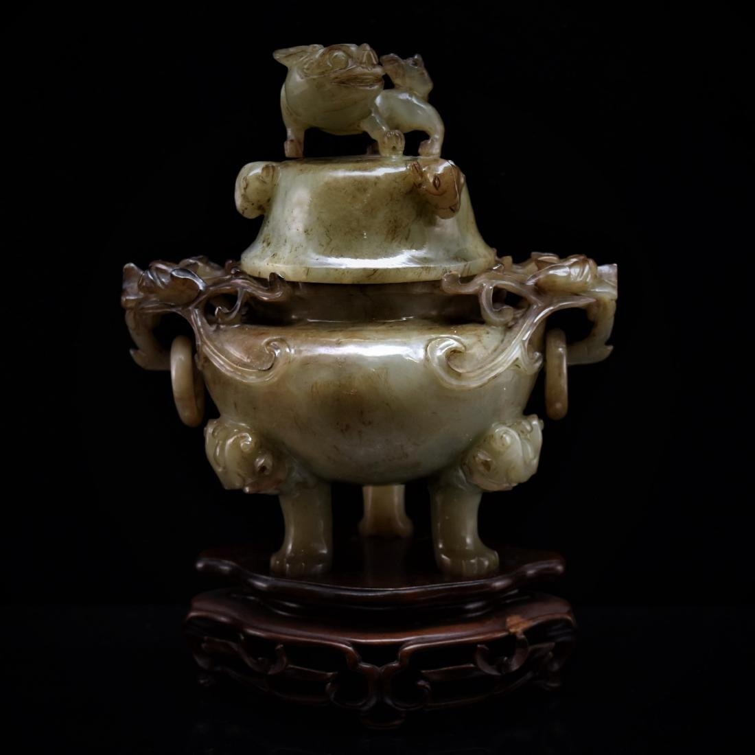 A MAGNIFICENT CARVED JADE COVERED TRIPOD CENSER
