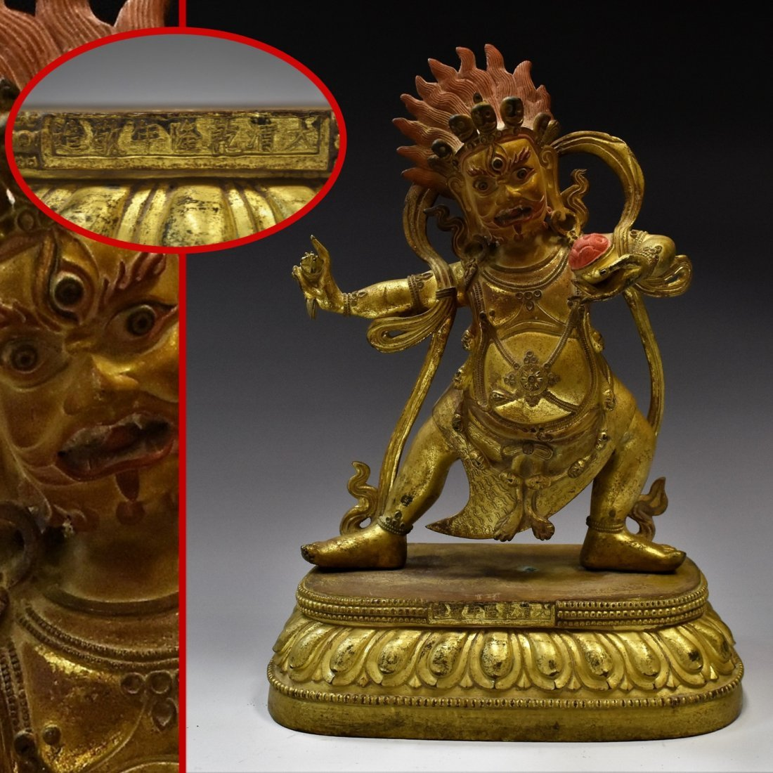 LARGE GILT BRONZE BUDDHA DEITY FIGURE OF VAJRAPANI