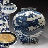MING BLUE & WHITE DRAGON JAR