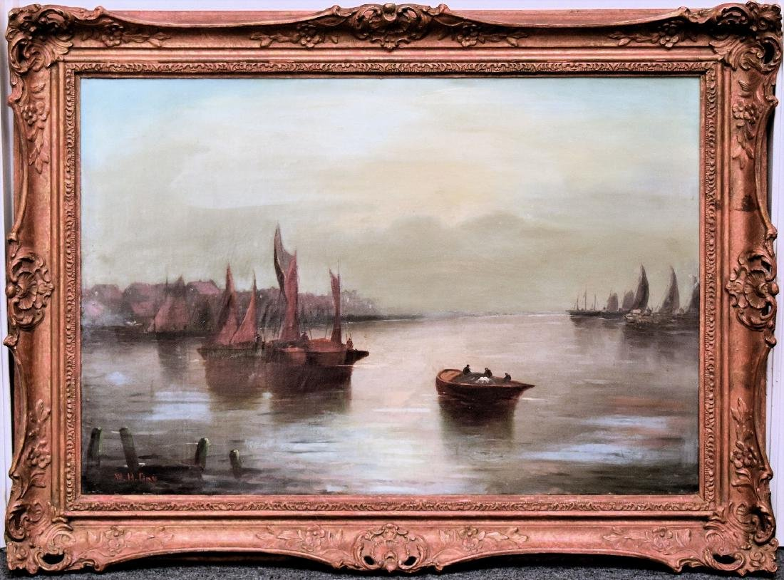 SHIP AT PORT, OIL ON CANVAS