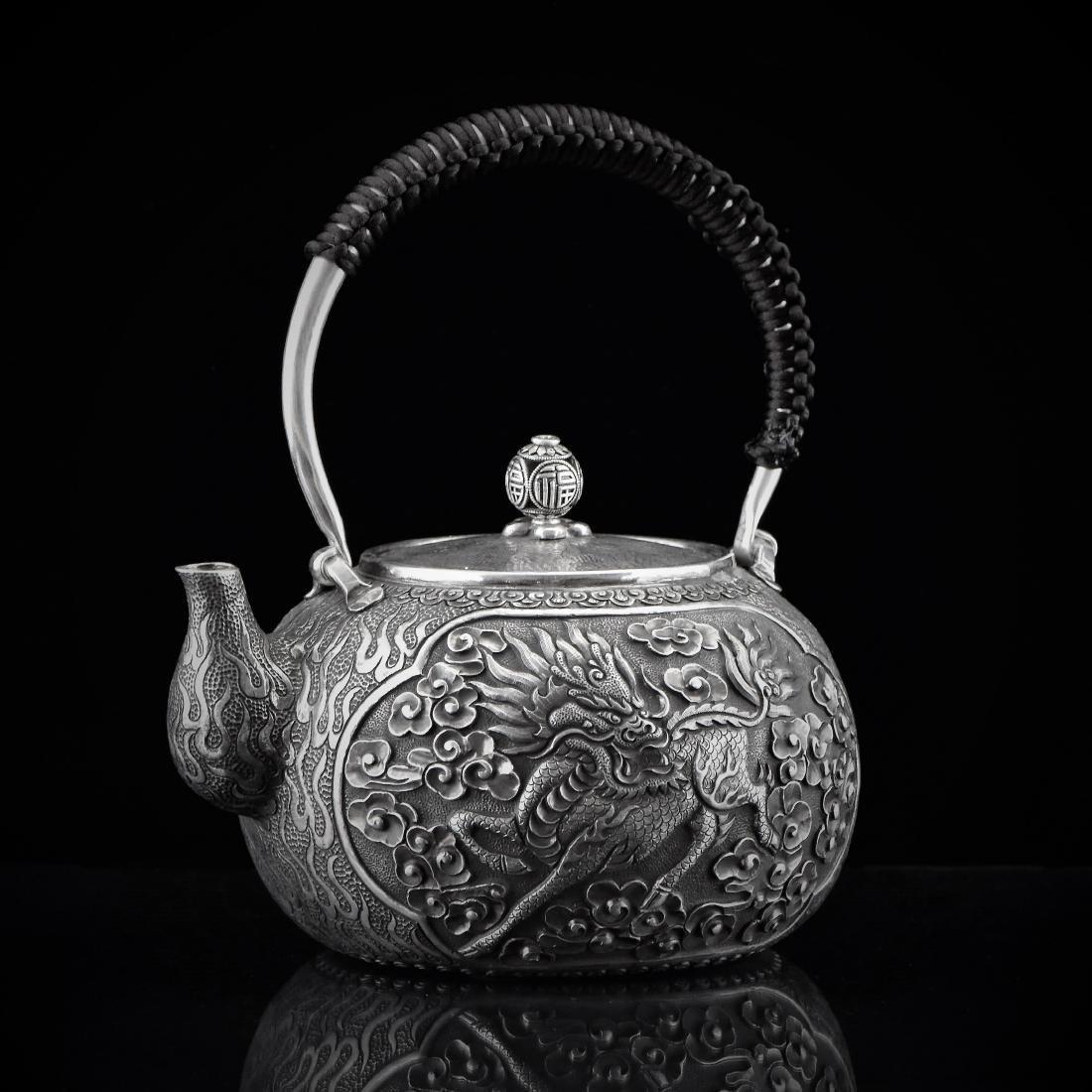 CHINESE EXPORT QILIN SILVER TEA POT